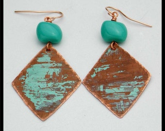 WEATHERED - Patinated Copper - Vintage Bohemian Glass - Rose GF Earrings