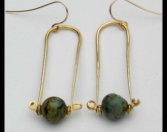 TRAPEZE - Handforged Bronze & African Turquoise Long Earrings