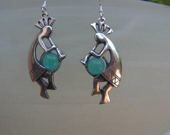 Sterling Silver Kokopelli Earrings With Aquamarine