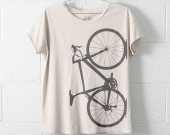Women's  Small Road Bike Tee, Coal on Ash Gray