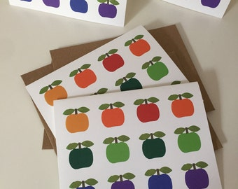 Blank Note Cards - Scandinavian Folk Style Apples - Set of 4
