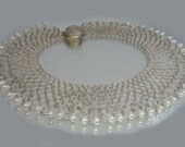 "Beaded Faux Pearl Collar Necklace 2"" Drop Vintage Bridal Wedding"
