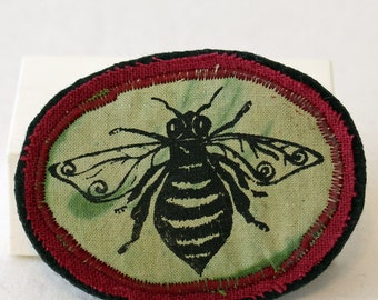 Honey bee brooch, fabric brooch pin, green and red, textile art brooch,hand dyed, screenprinted, insect brooch pin, coat jacket brooch