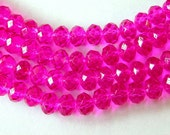 Hot Pink Crystal Beads 6x8mm Pink Crystal Beads (70)