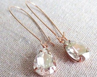 Swarovski Silver Shimmer Pear Crystal Long Dangling Teardrop Tear Drop Rose Gold, Gold, Silver Bridal Earrings Wedding Bridesmaids Gifts