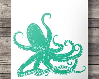 Teal Nautical coastal octopus print - Printable wall art INSTANT DOWNLOAD