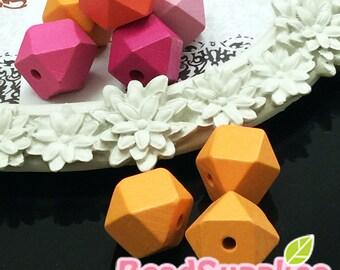 BE-WO-01021 - Geometric wood beads, Tangerine, 10 pcs