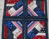 USA, patriotic, Red White and Blue Coasters Quilted Set of 4 Reversable