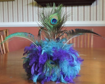 Peacock Feather Centerpiece, tablescape, unique, custom, teal, turquoise, lime green, purple