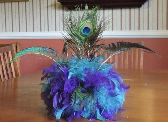 Peacock feather centerpiece tablescape unique custom teal