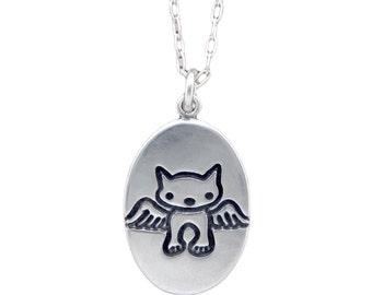 Angel Cat Necklace - Sterling Silver Cat Pendant - Cat Medallion - Custom Cat Memorial Necklace