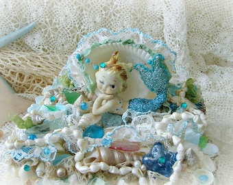 Rare Vintage Bradley Mermaid Figurine, Seashell Treasure Box, Ocean Decor, Mermaid, 1950s Bradley Mermaid, Mermaid Art