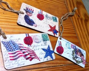 3 Americana postcard tags