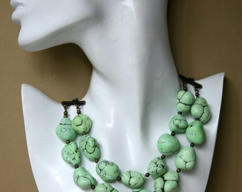 Light Green Turquoise Nuggets Double Strand Leather Cord Antiqued Brass Statement Necklace
