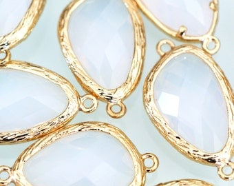 Sale Top Quality 2pcs Opal Glass Polished Real Gold Plated Brass Links GLAA