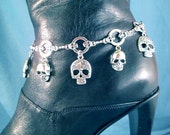 Skull Willie G Style Motorcycle Boot Jewelry Boot Bracelet Boot Bling Biker Skulls Lady Rider