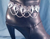 Angel Wings Anklet or Boot Chains Boot Jewelry Boot Bracelet Boot Bling Biker Western Lady Rider Winged Heart Beach