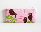 Owls on Pink Long Zipper Pouch Pencil Case Hot Couturier Robert Kaufman