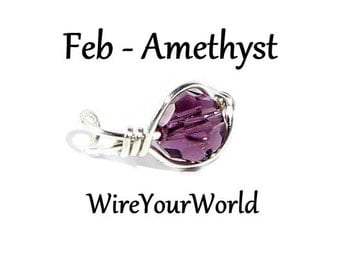 Birthday Gift February Birthstone Amethyst Silver Ear Cuff or choose silver gold wrap cartilage earring non pierced Personalize