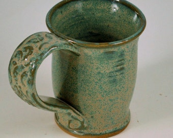 Aqua Green Mug  Wheel Thrown Stoneware Pottery