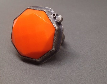 large bright orange octogan geometric ring big ring jewelry oxidized sterling silver vintage glass jewelry