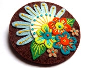 HALF PRICE SALE Summer felt brooch pin with freeform embroidery - scandinavian style