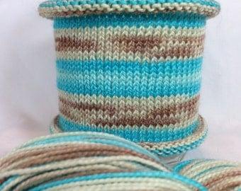 Sand In My Seagrass: Hand-dyed gradient self-striping sock yarn, 80/20 SW merino/nylon