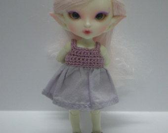Realpuki Crochet and Fabric Dress in Purple