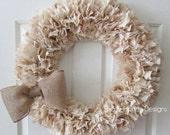 Burlap and Muslin Rag Wreath with Bow Rustic Decor Round 22""