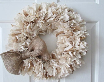 Burlap and Muslin Rag Wreath with Bow, Rustic Decor, Beach Decor, Neutral Wreath, Burlap Wreath, Rustic Wedding Round 20""