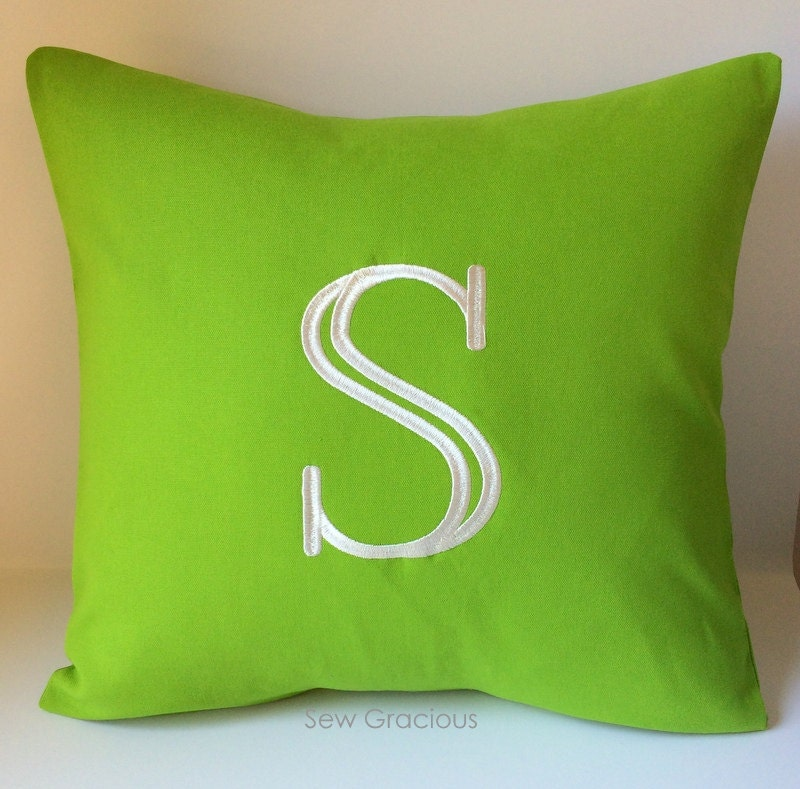 Custom Initial Letter Pillow Cover. Decorative Pillow Cover.