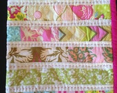 Stroller quilt - pink and lime