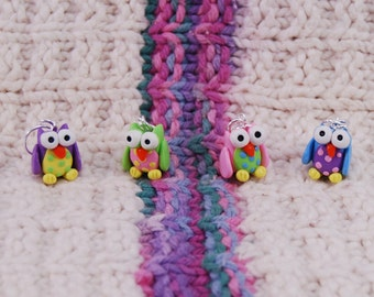 Owl knitting or crochet stitch markers - Set of 4 - Polymer Clay
