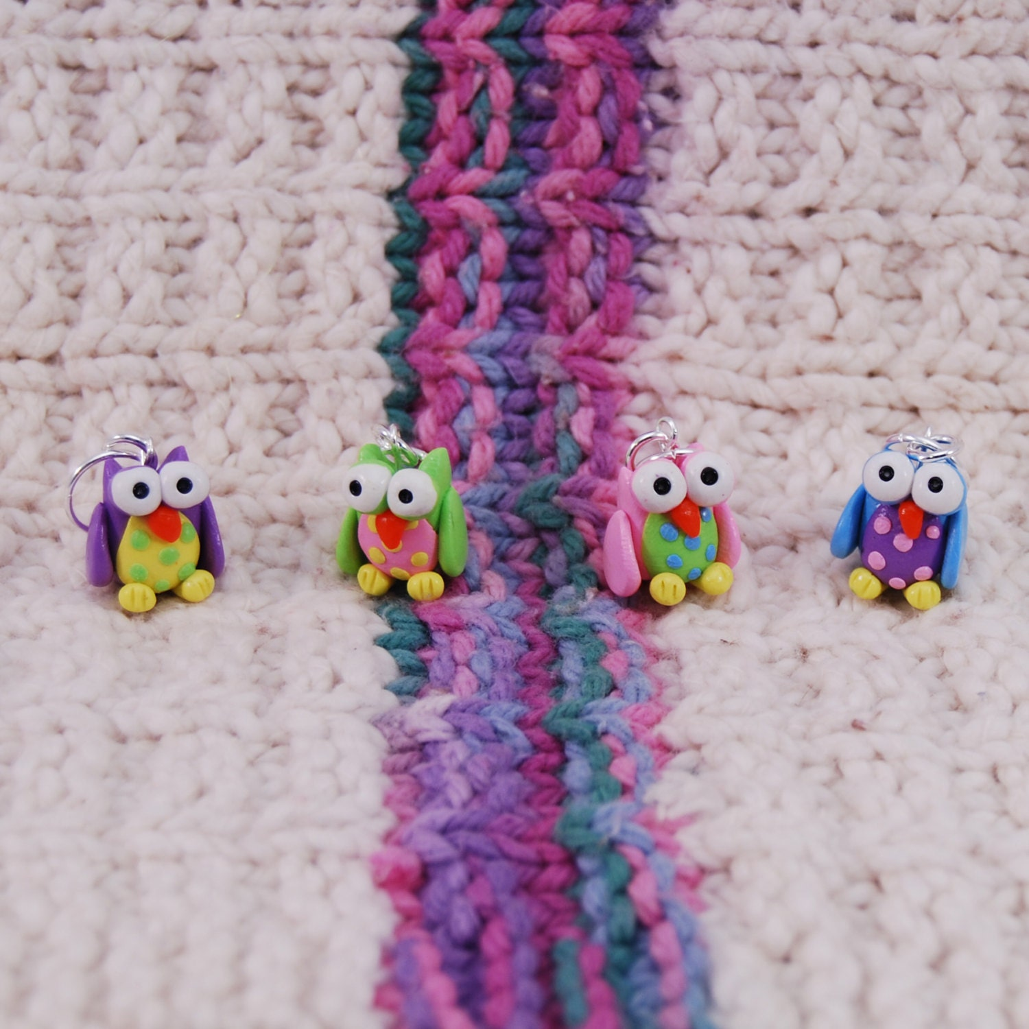 Crochet Stitch Markers : Owl knitting or crochet stitch markers Set of 4 by TheClaySheep