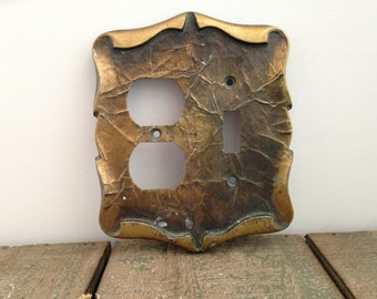 Vintage brass scrolling Wall and switch plate