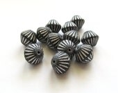 Matte Jet Black Ribbed Bicone Czech Glass Beads with Silver Inlay, 10mm - 12 pieces