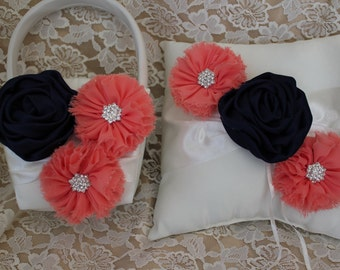 Ivory or White Ring Bearer Pillow/ Basket-Navy  Blue Flower Satin Flower and Coral Chiffon Flowers with Rhinestones/ Custom Colors Available