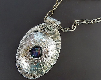 Oval Fine Silver Sea Urchin with Dichroic Glass Wave Pattern and 18 inch Heavy Oxidized Sterling Silver Etched Link Chain with Lobster Clasp