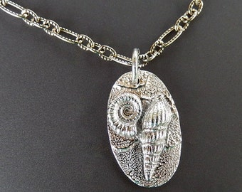 Silver Ammonite Fossil and Ladder Shell Oval Fine Silver Pendant with Sterling Silver Etched Link Oxidized 18 inch Chain