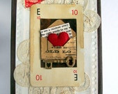Small original mixed media altered art collage on canvas red love heart key