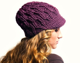 Instant Download Knitting Pattern - Knit Hat Pattern Amsterdam Cable Beanie Pattern Knit Newsboy Pattern - Womens Accessories