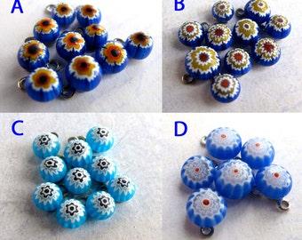 Vintage Blue Themed Italian Millefiore Glass Charms - You Choose (20X) (P552)