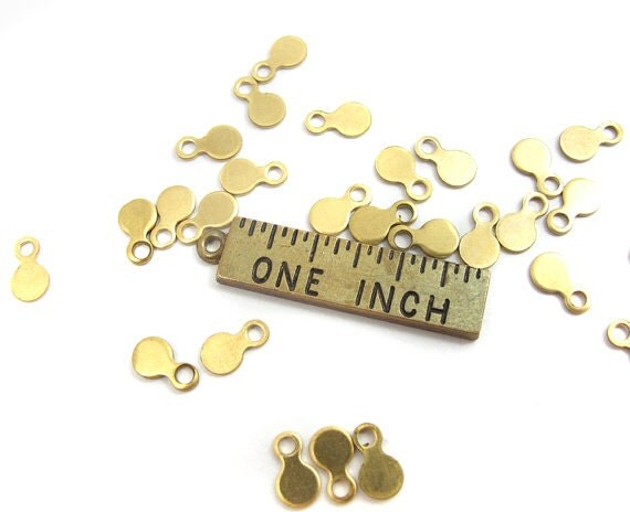 Raw Brass Engraving Circle Charms - with bail - 4mm X 7mm (72X) (M811)