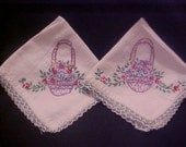 Vintage -  Hand Embroidered - Napkins - Basket - Flowers - Trim - Colorful - Bright