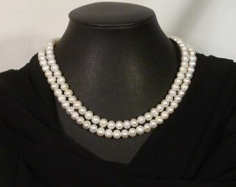 Traditional Double Strand Genuine Freshwater Pearl Choker