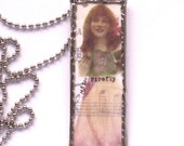 Microscope slide pendant necklace Princess Firefly Soldered Real Flower