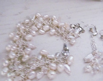 Sunny Beach Delights  Pearl charm bracelet and earrings wedding, perhaps?