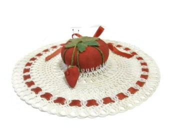 SALE | Vintage Tomato Pincushion and Plastic Doily Assemblage