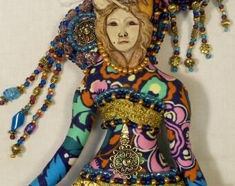 OOAK Women's  Rights Warrior beaded cloth art doll 13 in. tall Fantasy Goddess