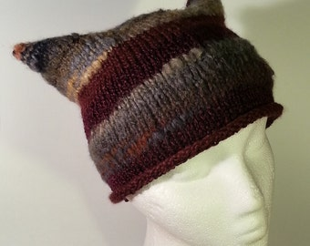 Striped knit kitty beanie with gloves in maroon brown grey
